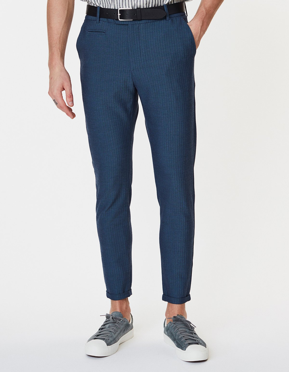 Como Light Herringbone Stretch Suit Pants