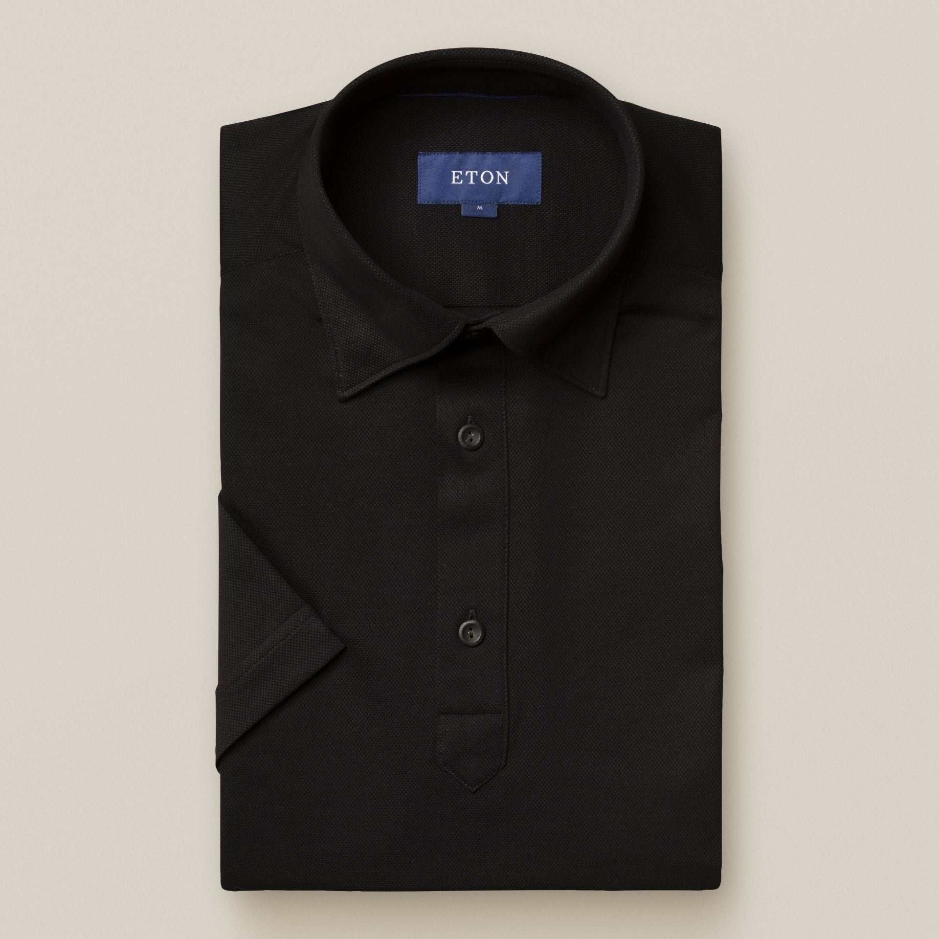 Black Short Sleeve Pique Polo Shirt