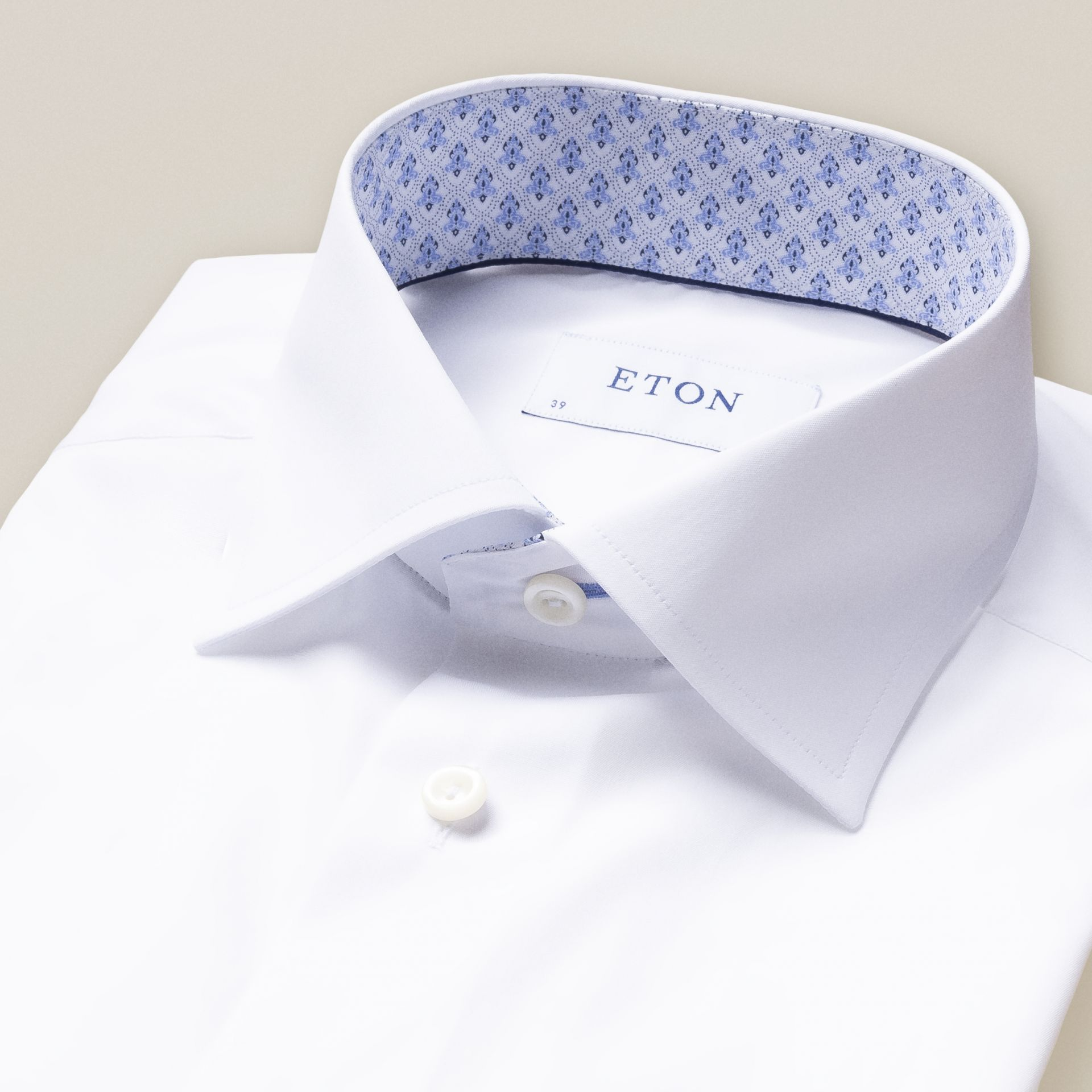White Poplin Shirt With Micro Print Detail
