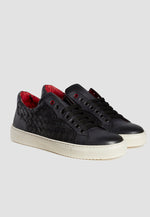 Jeffery West Weave Charcoal Leather Sneaker
