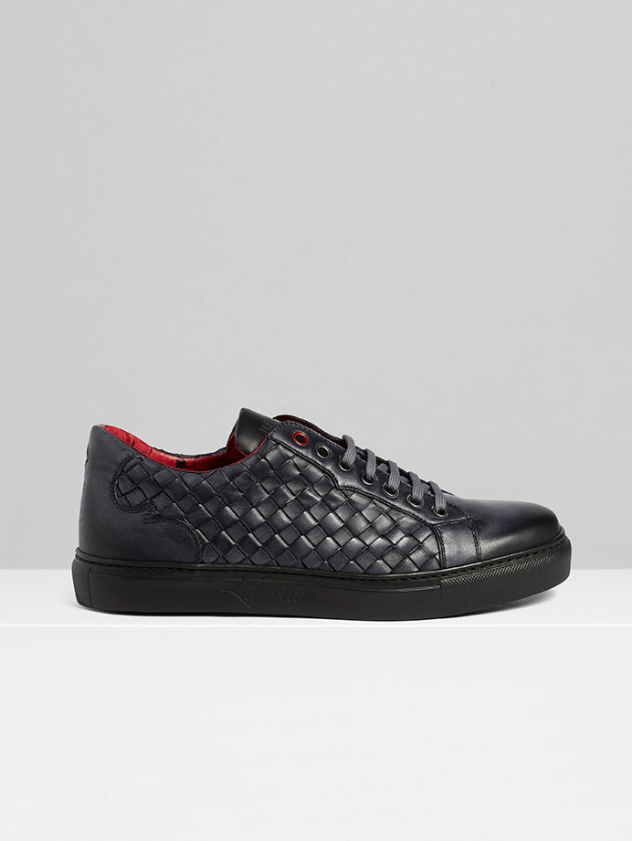 Ash Grey Woven Leather Sneaker