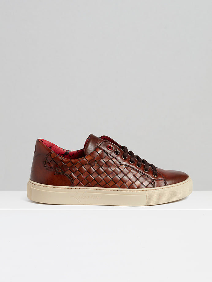 Costano Tan Woven Leather Sneaker