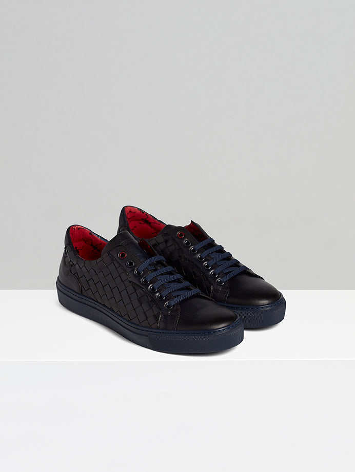 Navy Woven Leather Sneaker