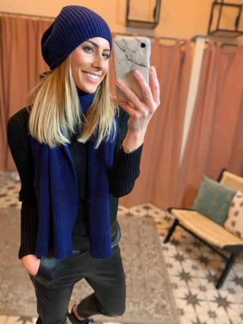 Libby Loves Navy Cashmere Hat & Scarf Set