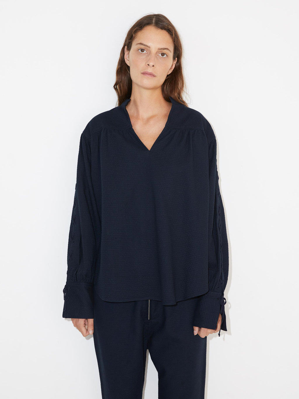 Chalais Textured Navy Cotton Top