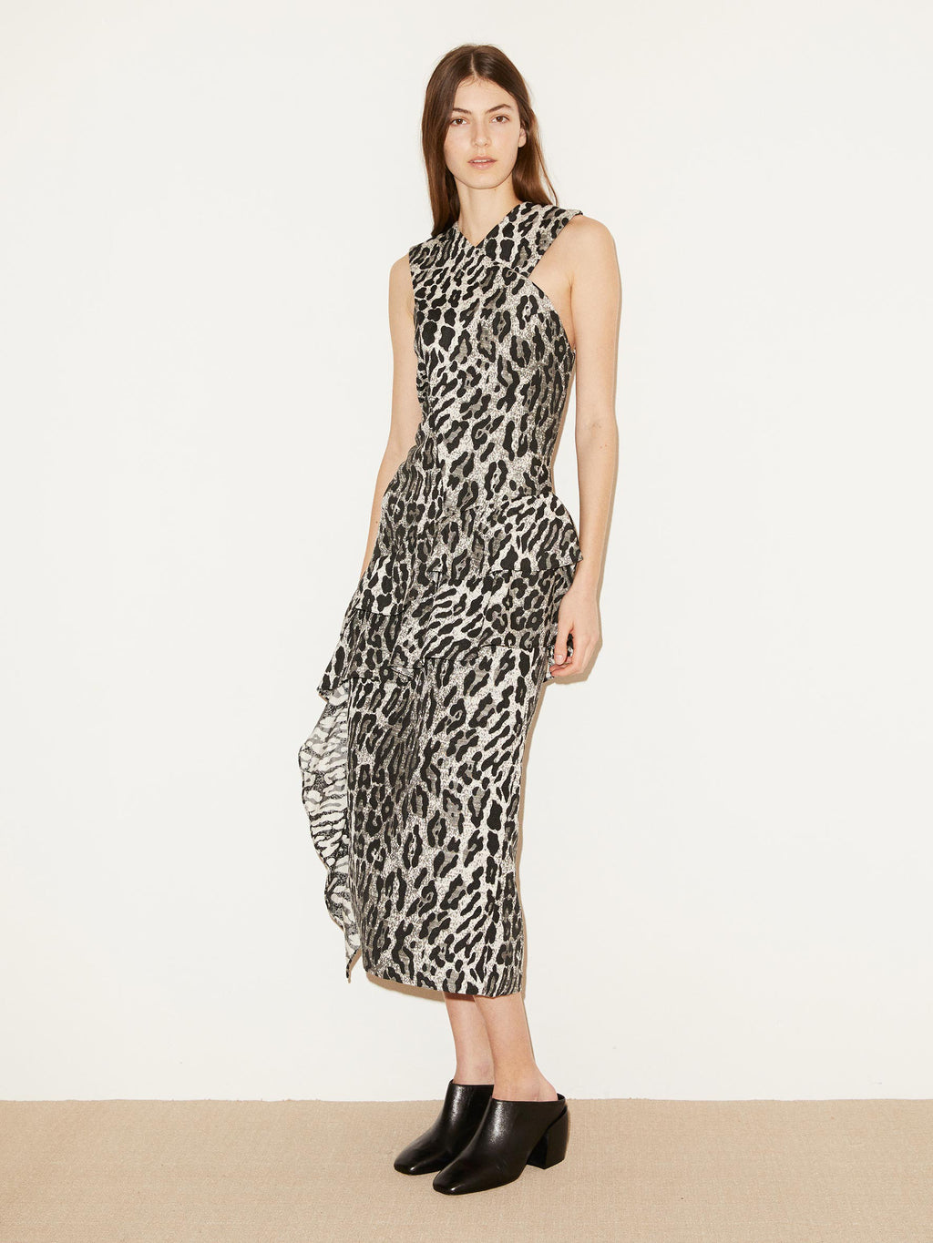 Amesia Grey Leopard Ruffle Dress