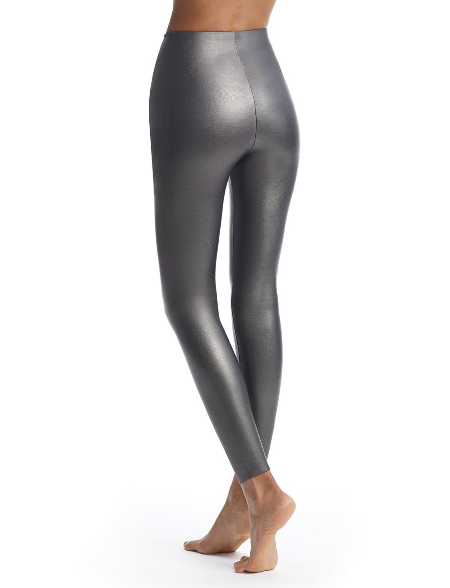 Gunmetal Faux Leather Legging