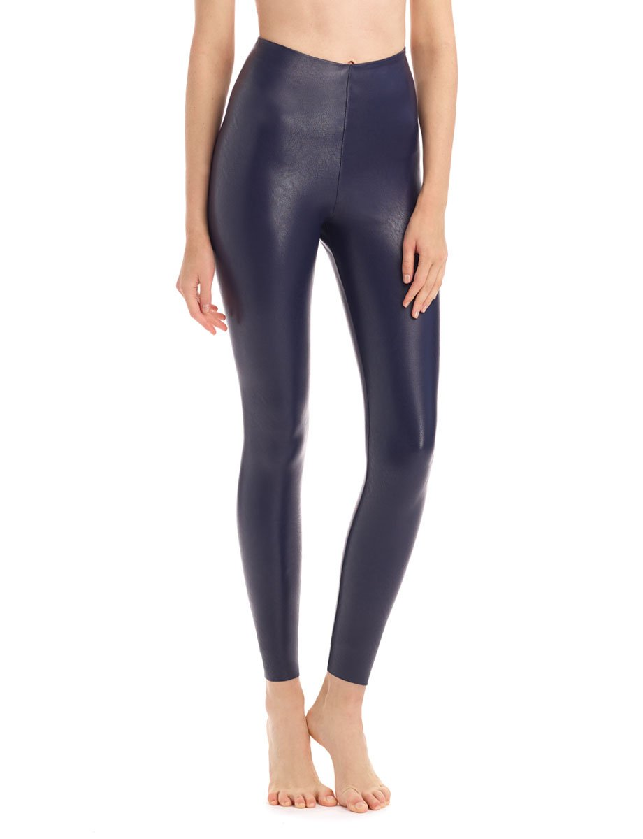 Navy Faux Leather Legging