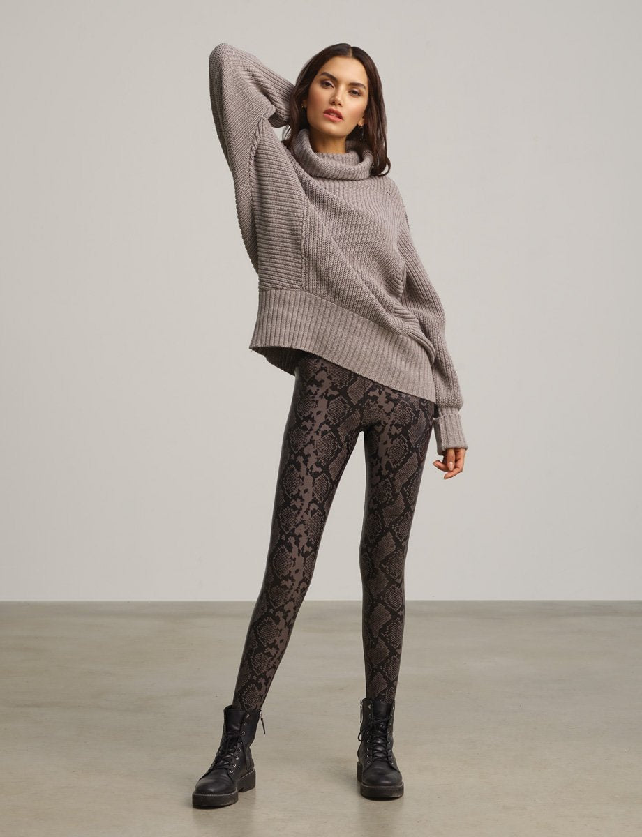 Grey Snake Faux Leather Legging