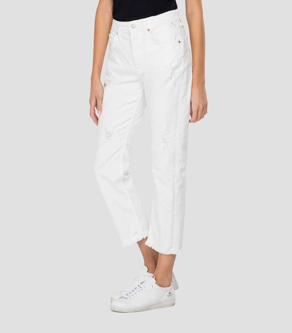White Cropped Straight Fit Maijke Jean