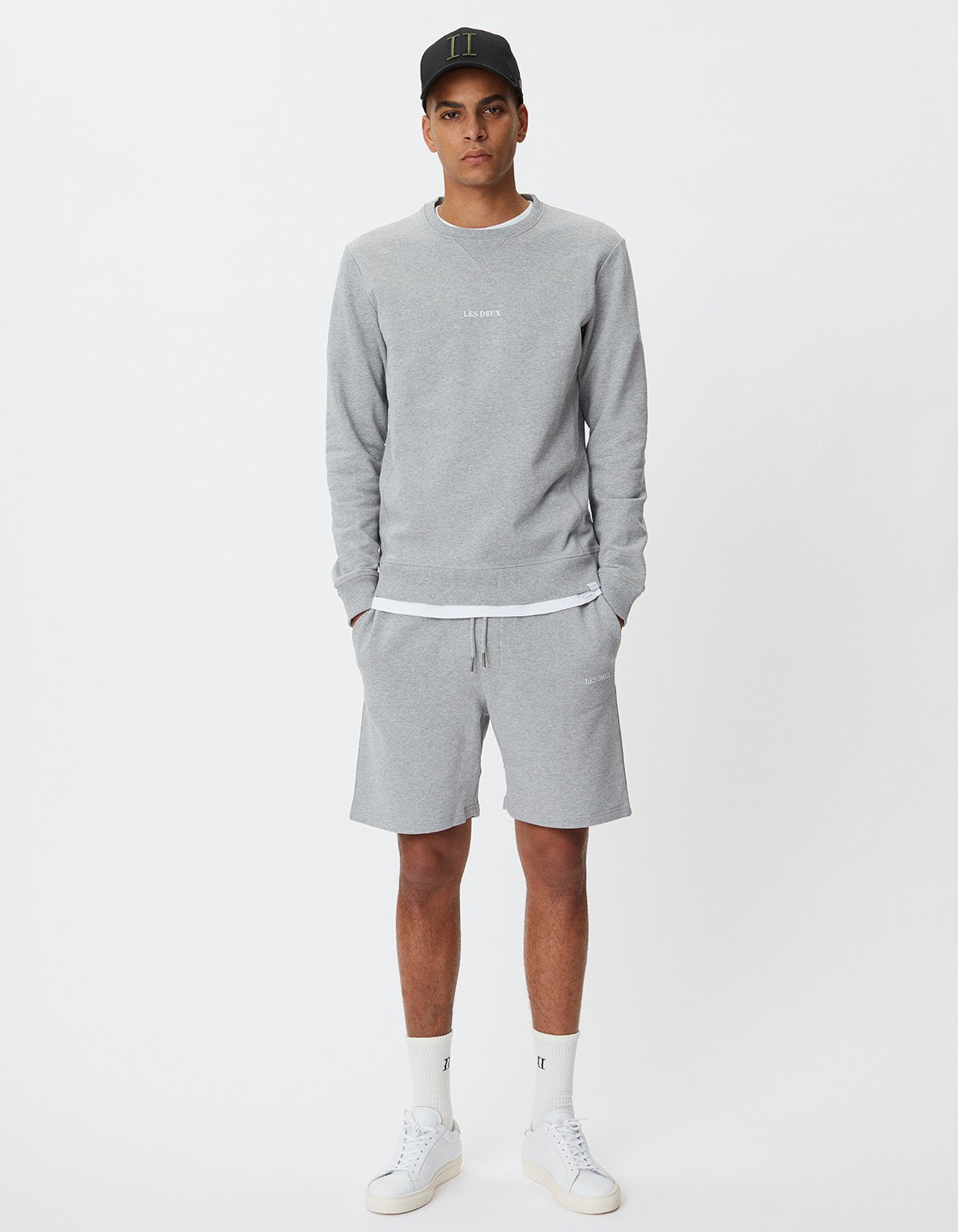 Lens Light Grey Melange Sweat Shorts