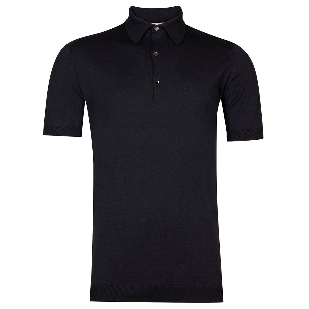 Adrian Navy Sea Island Cotton Polo Shirt