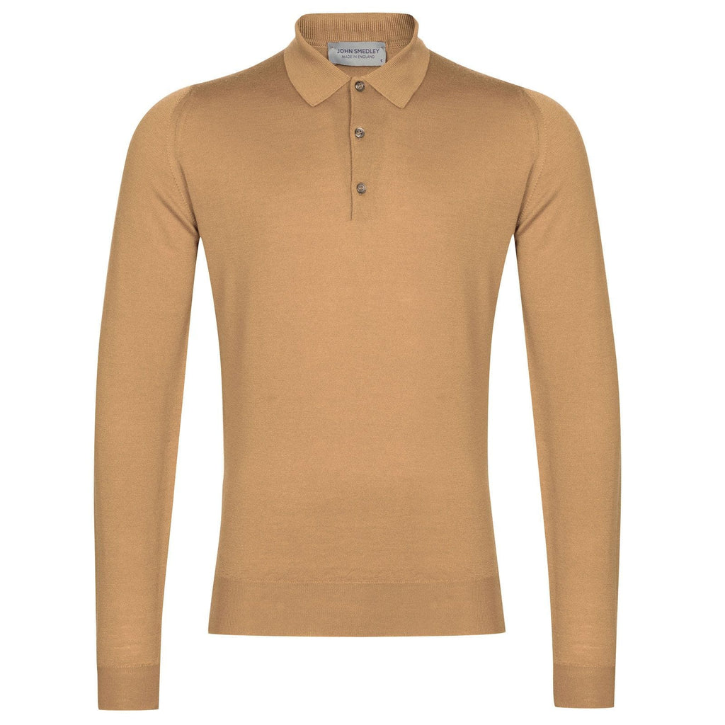 Belper Light Camel Long Sleeve Polo
