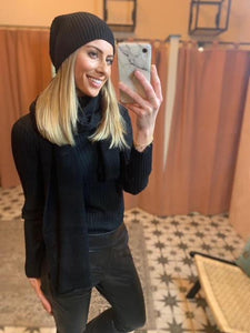 Libby Loves Black Cashmere Hat & Scarf Set