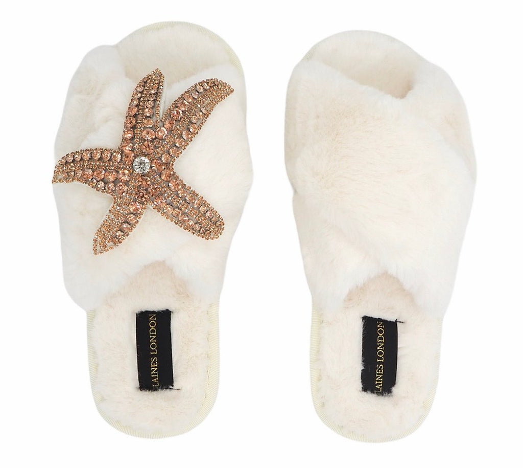 Rose Gold Starfish On Fluffy Cream Slipper