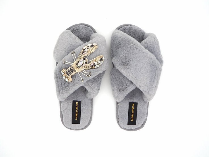 Crystal Lobster On Grey Slipper