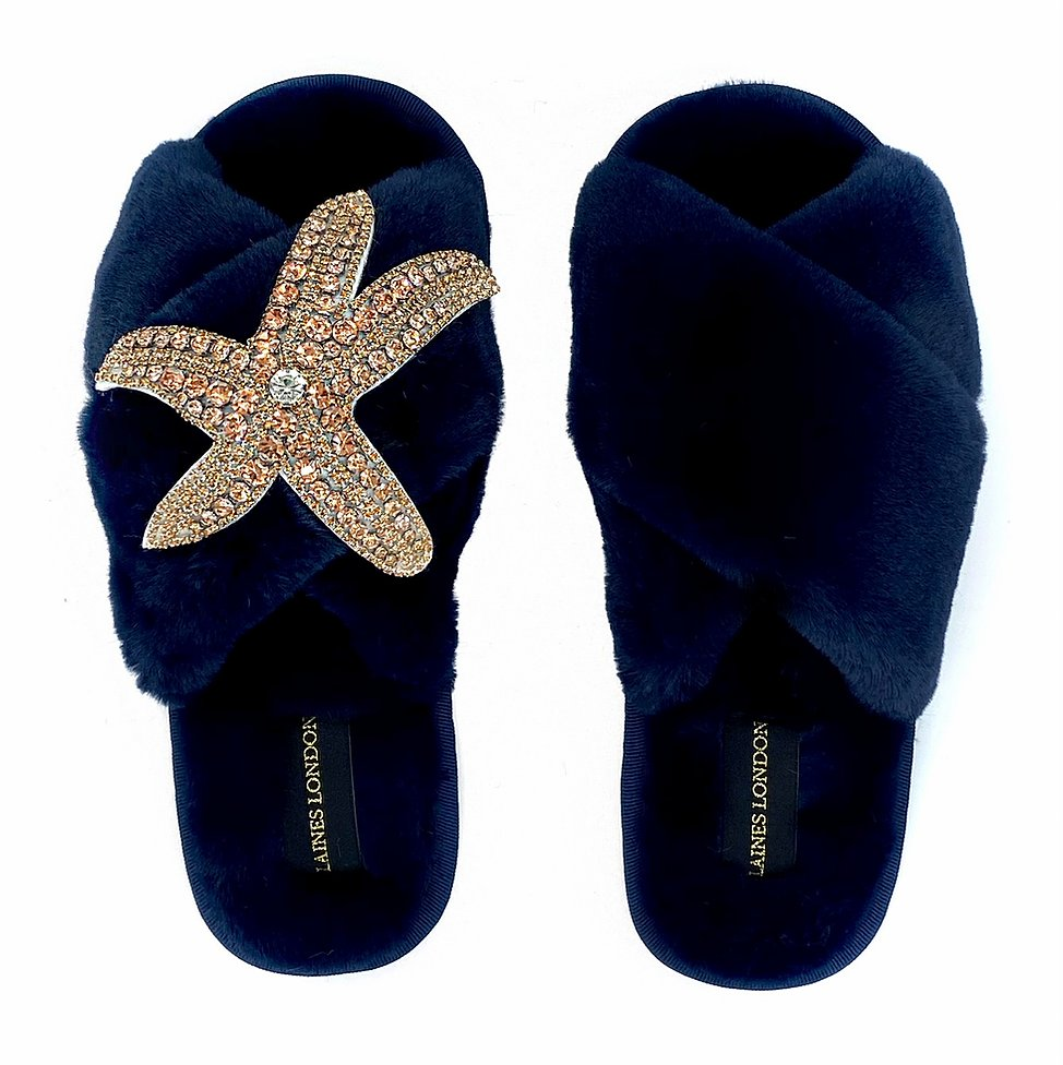 Rose Gold Starfish On Fluffy Navy Slipper