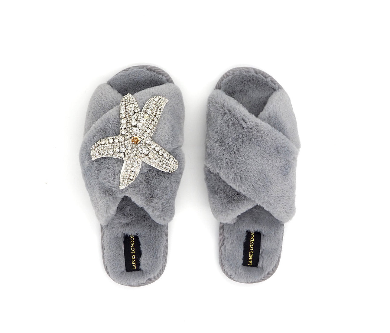 Silver Starfish On Fluffy Grey Slipper