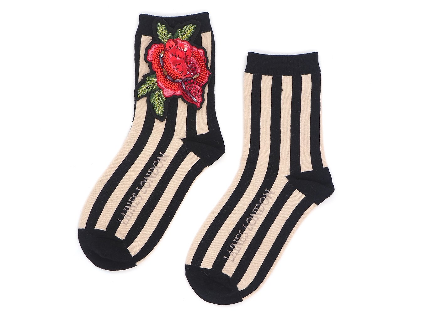 Rose Broach On Black & Cream Stripe Sock