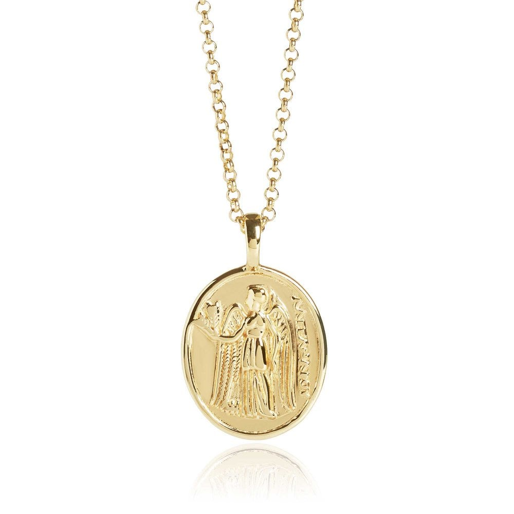 Athena Coin Necklace Gold Vermeil Polished 18""
