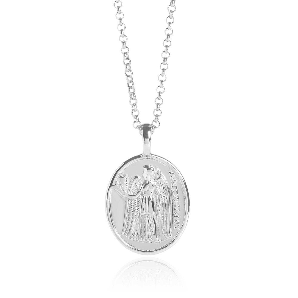 Athena Coin Necklace Silver Polished 18""