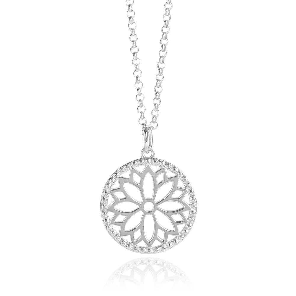Purity Mandala Charm Necklace Silver 18""