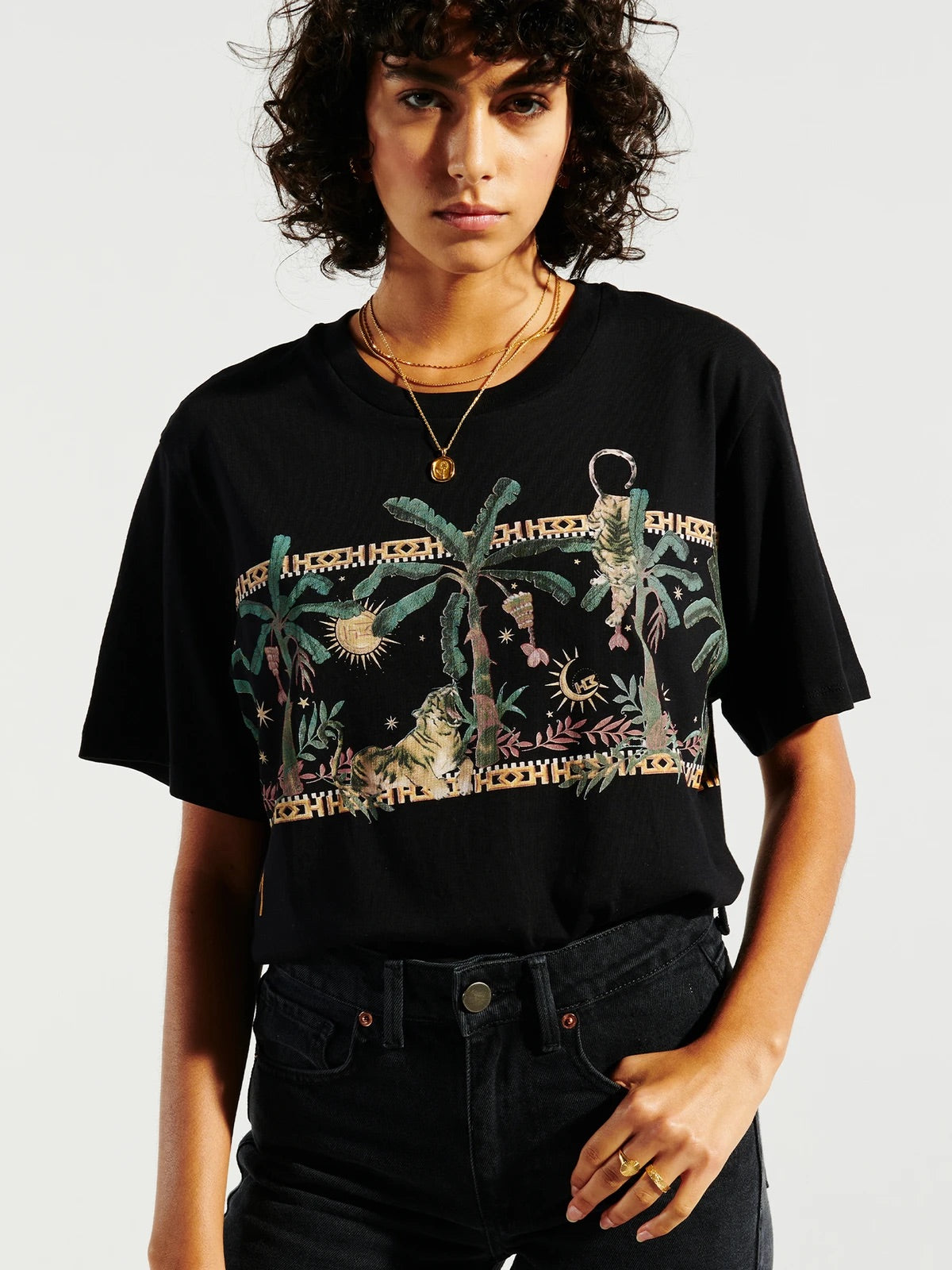 Safari Black Cotton T-Shirt