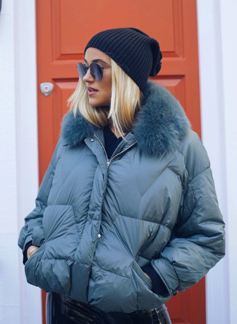 Eve Khaki Green Puffa Coat With Fur Collar