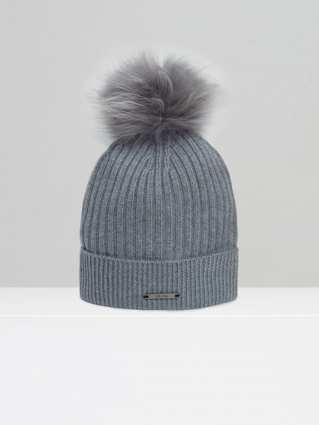 BKLYN Knitted Bobble Hat In Grey