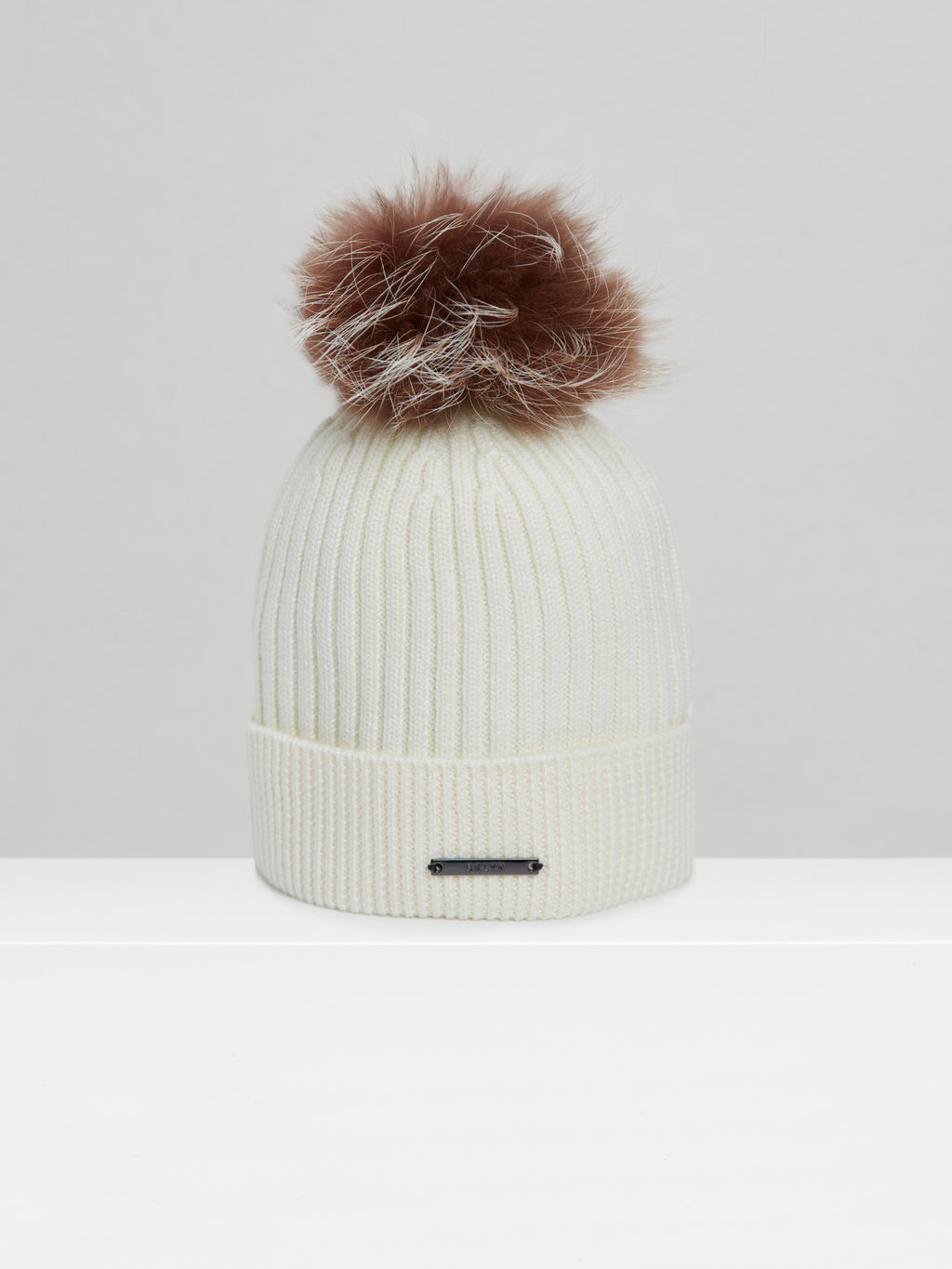 BKLYN Knitted Bobble Hat In Cream