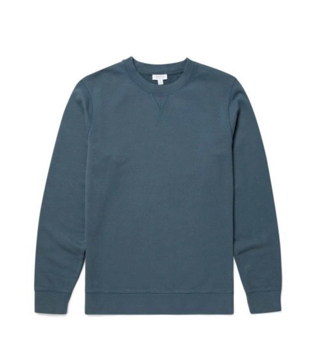 Cotton Loopback Sweatshirt In Dark Petrol