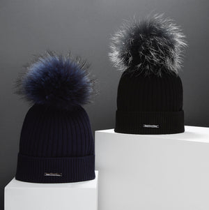 BKLYN Knitted Bobble Hat In Navy