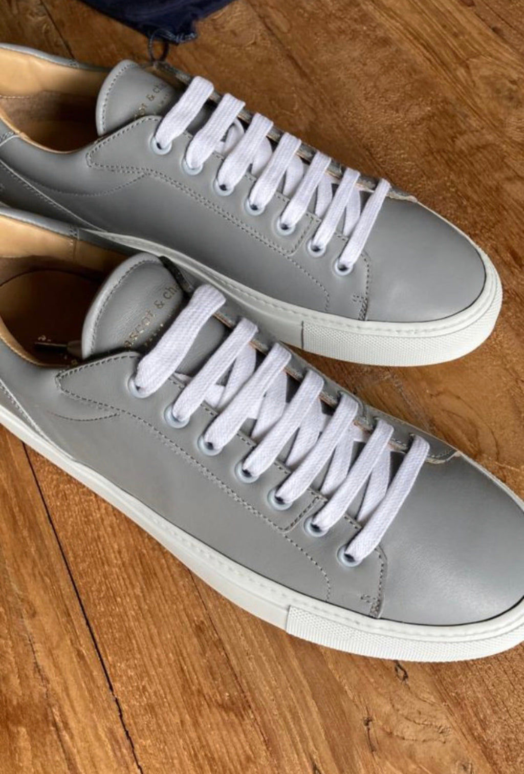 Lione Grey Leather Sneakers
