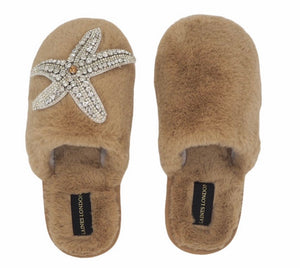 Silver Starfish On Closed Toe Camel Slipper