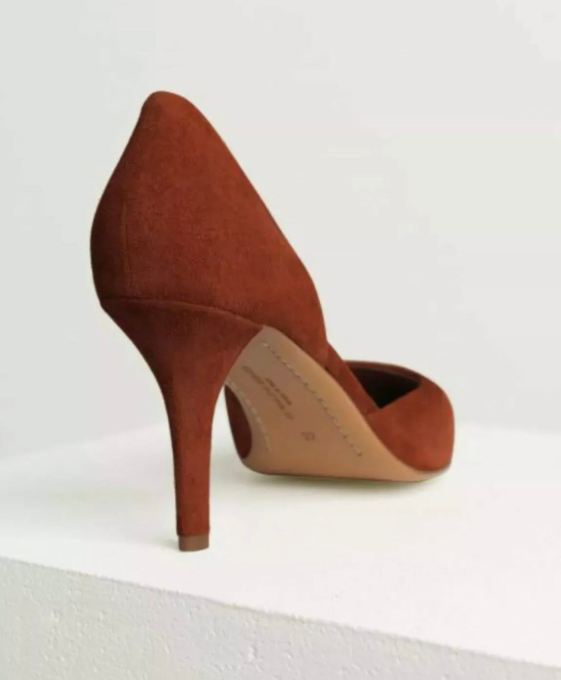 Red Clay Suede Mid Heels