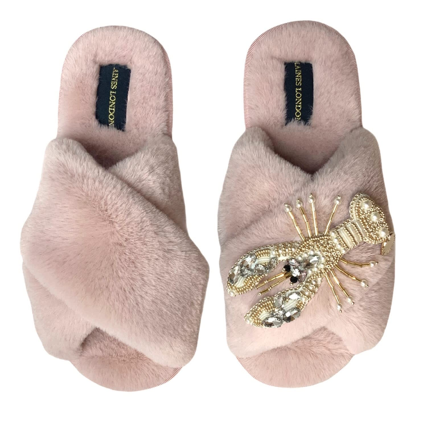 Pink & Pearl Lobster On Fluffy Pink Slipper