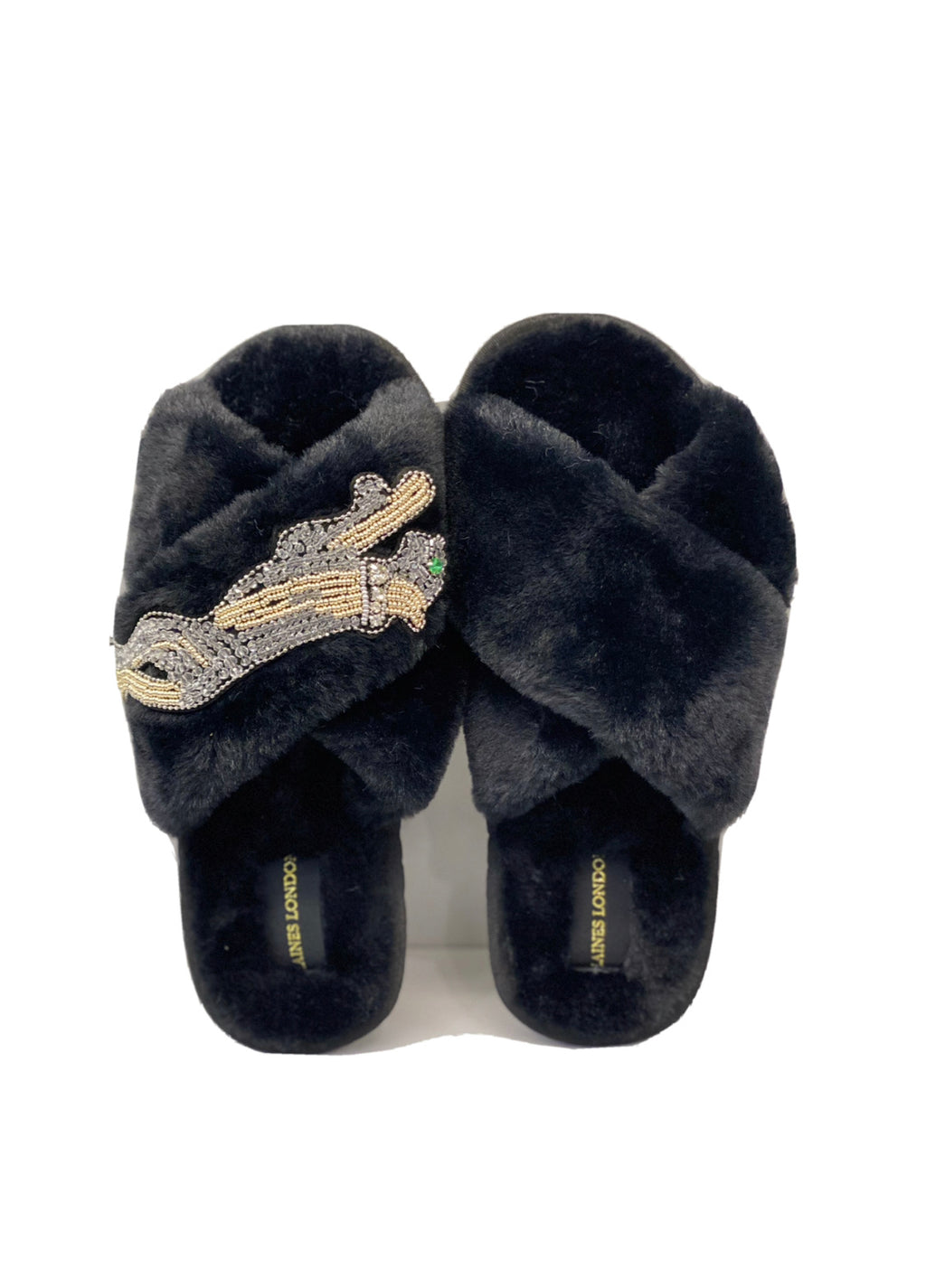 Platinum Panther On Fluffy Black Slipper