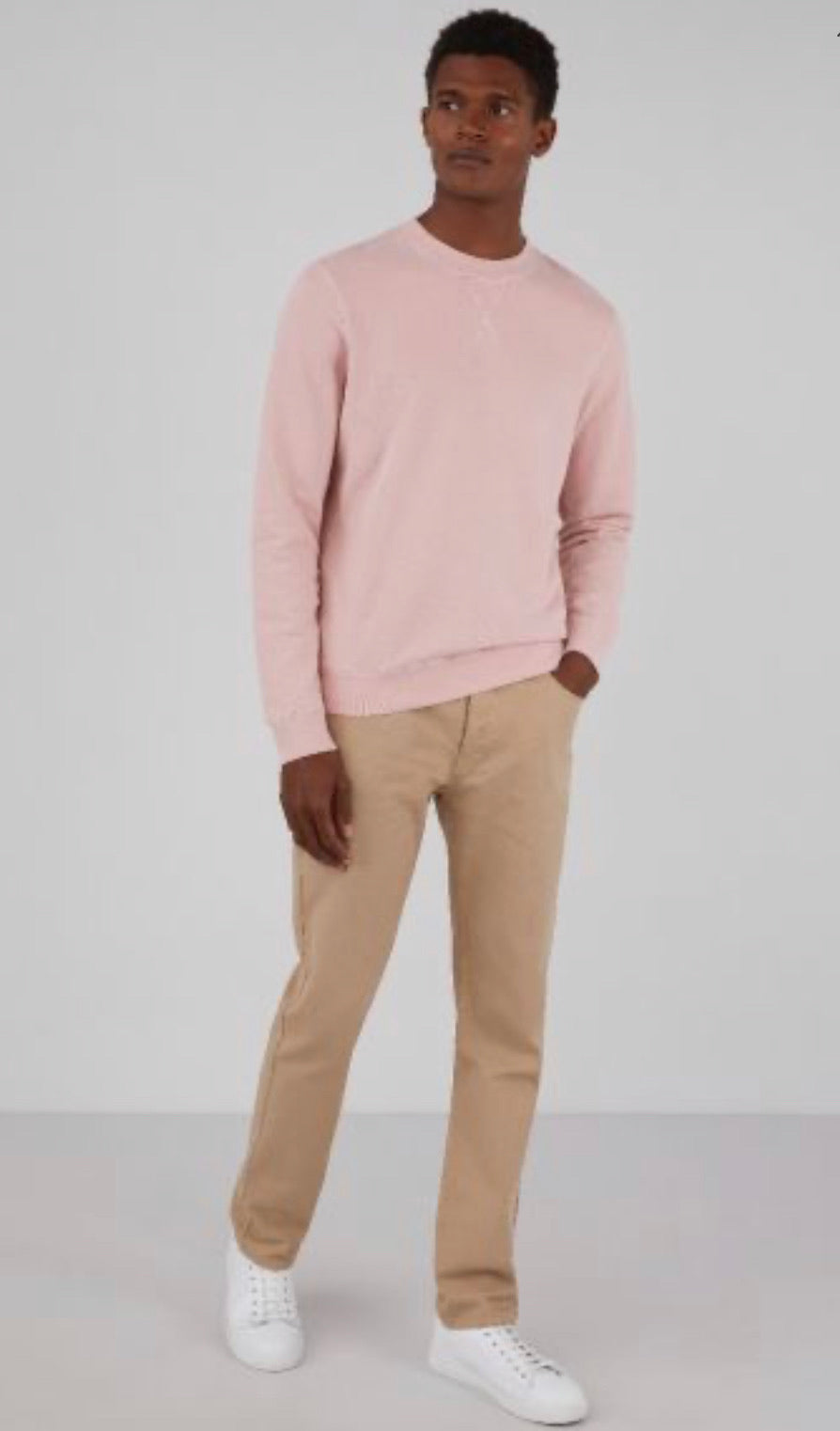 Dusty Pink Cotton Loopback Crew Sweatshirt