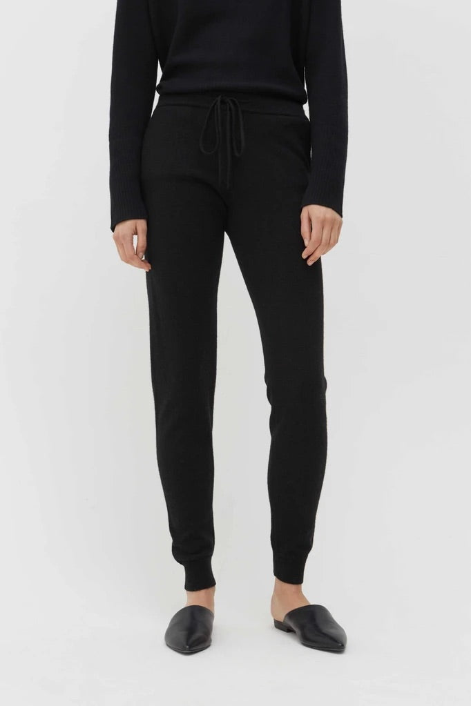 Black Cashmere Track Pants