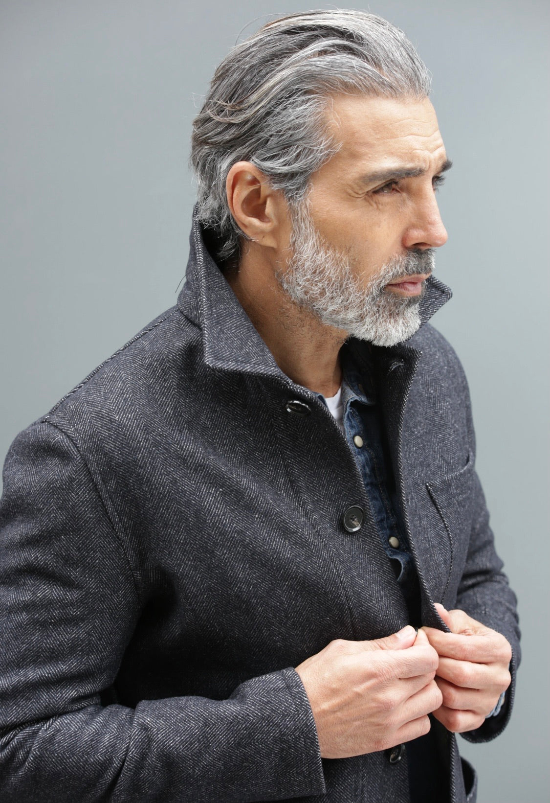 Grey Herringbone Wool Overshirt