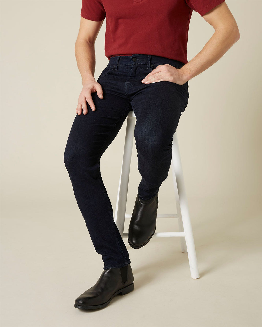 Slimmy Tapered Luxe Performance Plus Colours Navy Jean