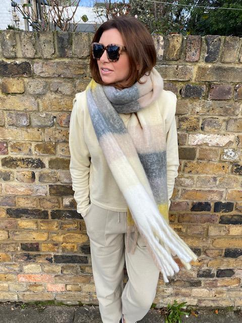 Libby Loves Lenny Oversized Lemon Check Scarf