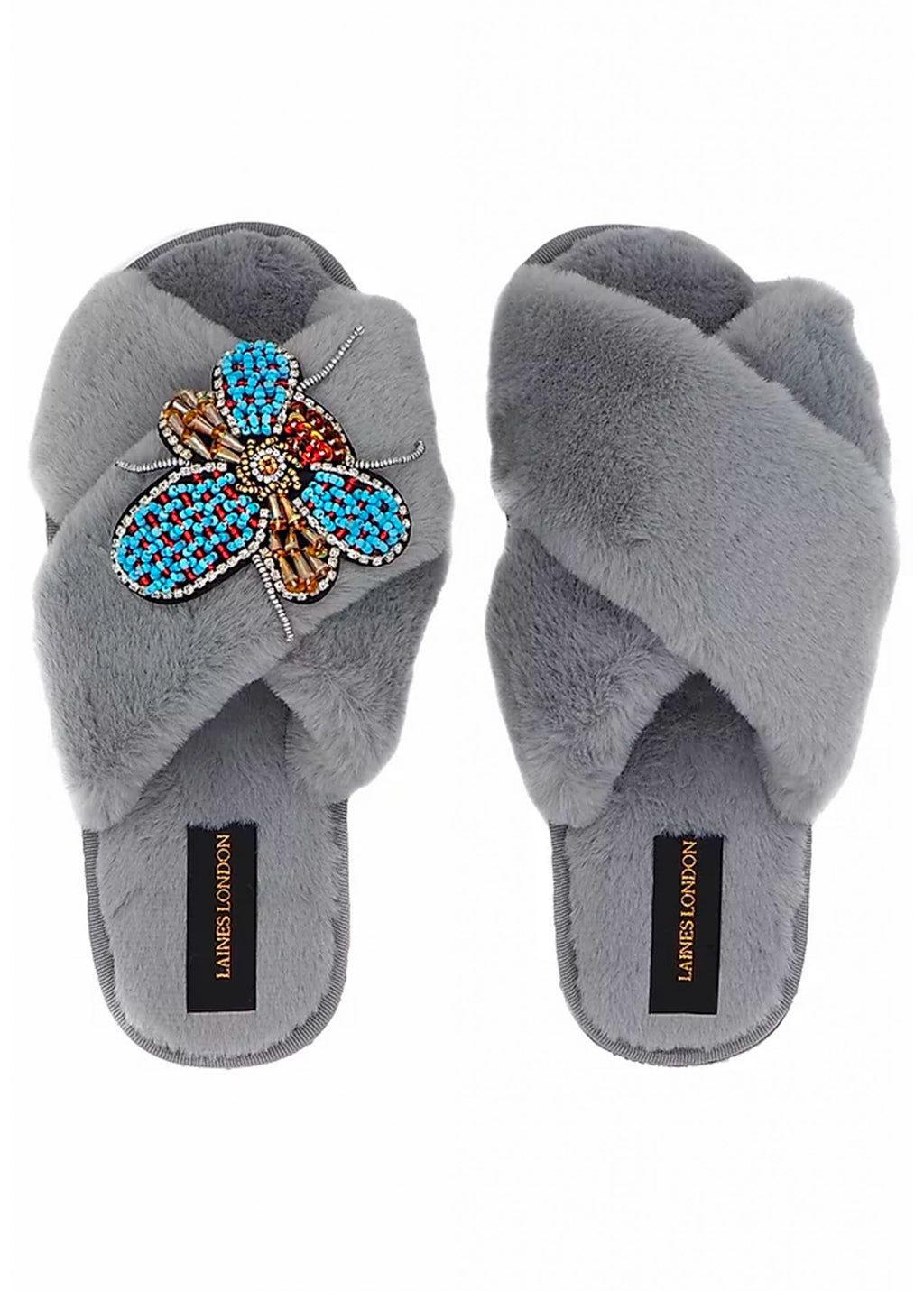 Beaded Bug On Grey Fluffy Slipper
