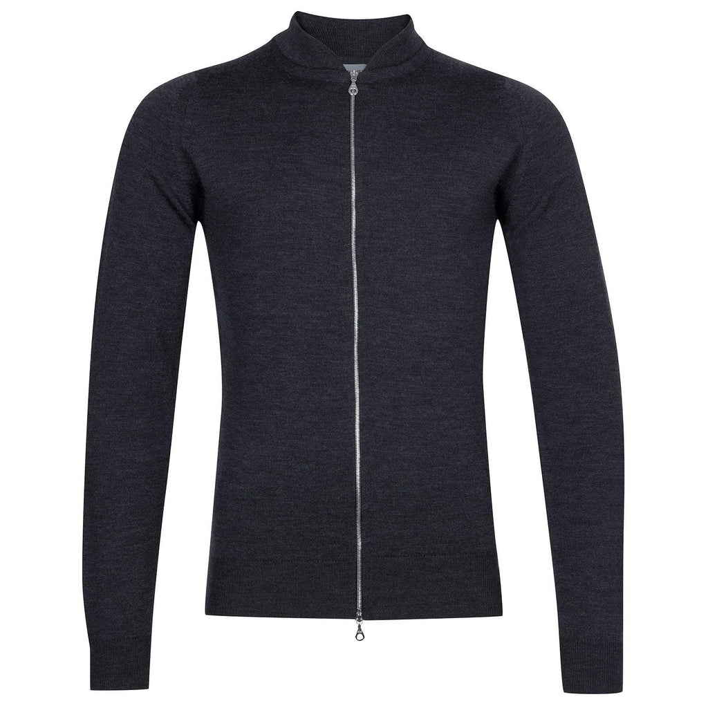 Maclean Charcoal Merino Zip Through Jumper