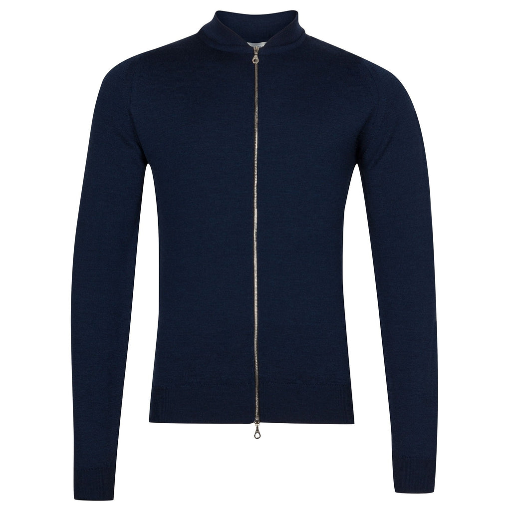 Maclean Indigo Merino Zip Through Jumper