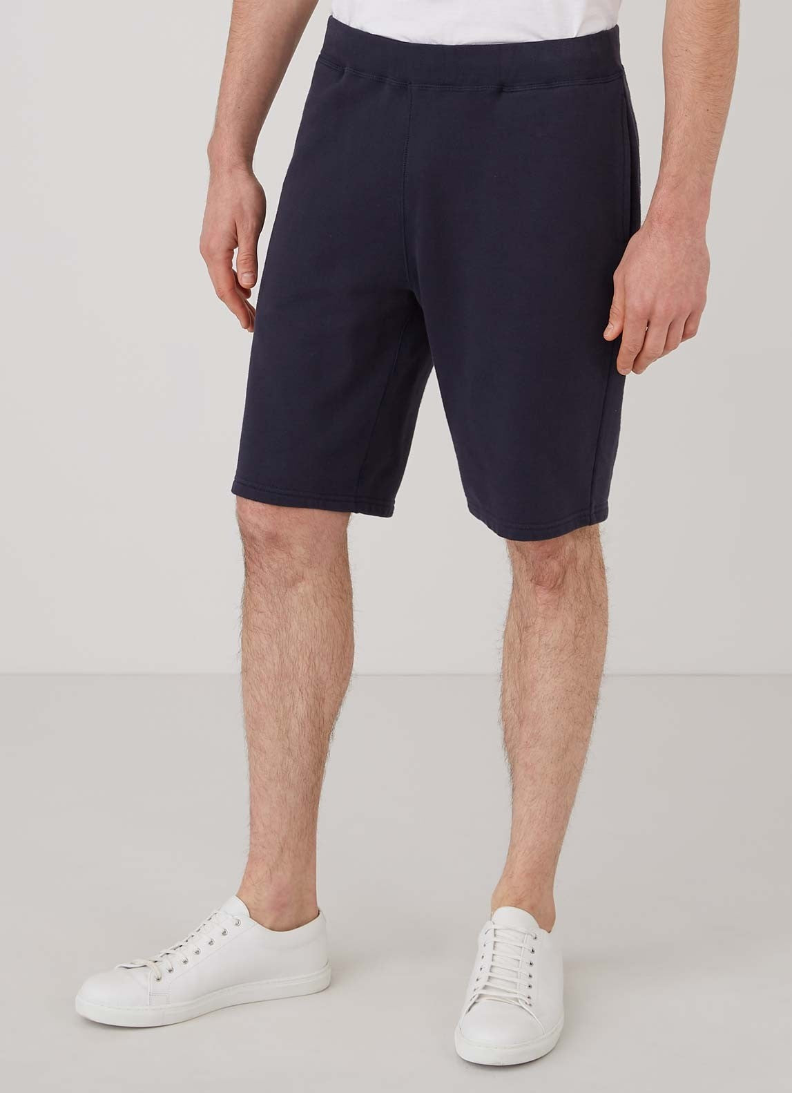 Navy Cotton Loopback Shorts