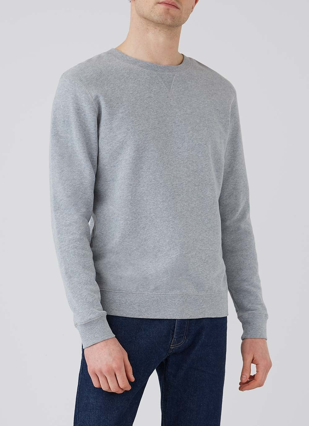 Grey Melange Cotton Loopback Crew Sweatshirt