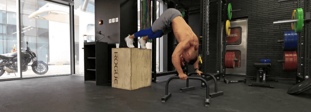 parallettes pike push up incliné