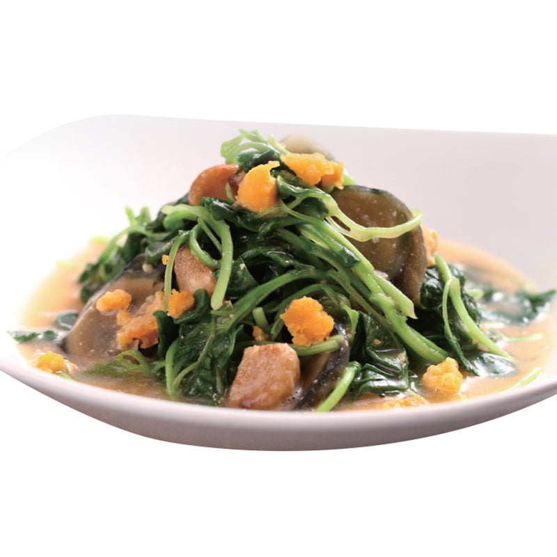 Spinach with Salted Egg and Century Egg in Supreme Stock