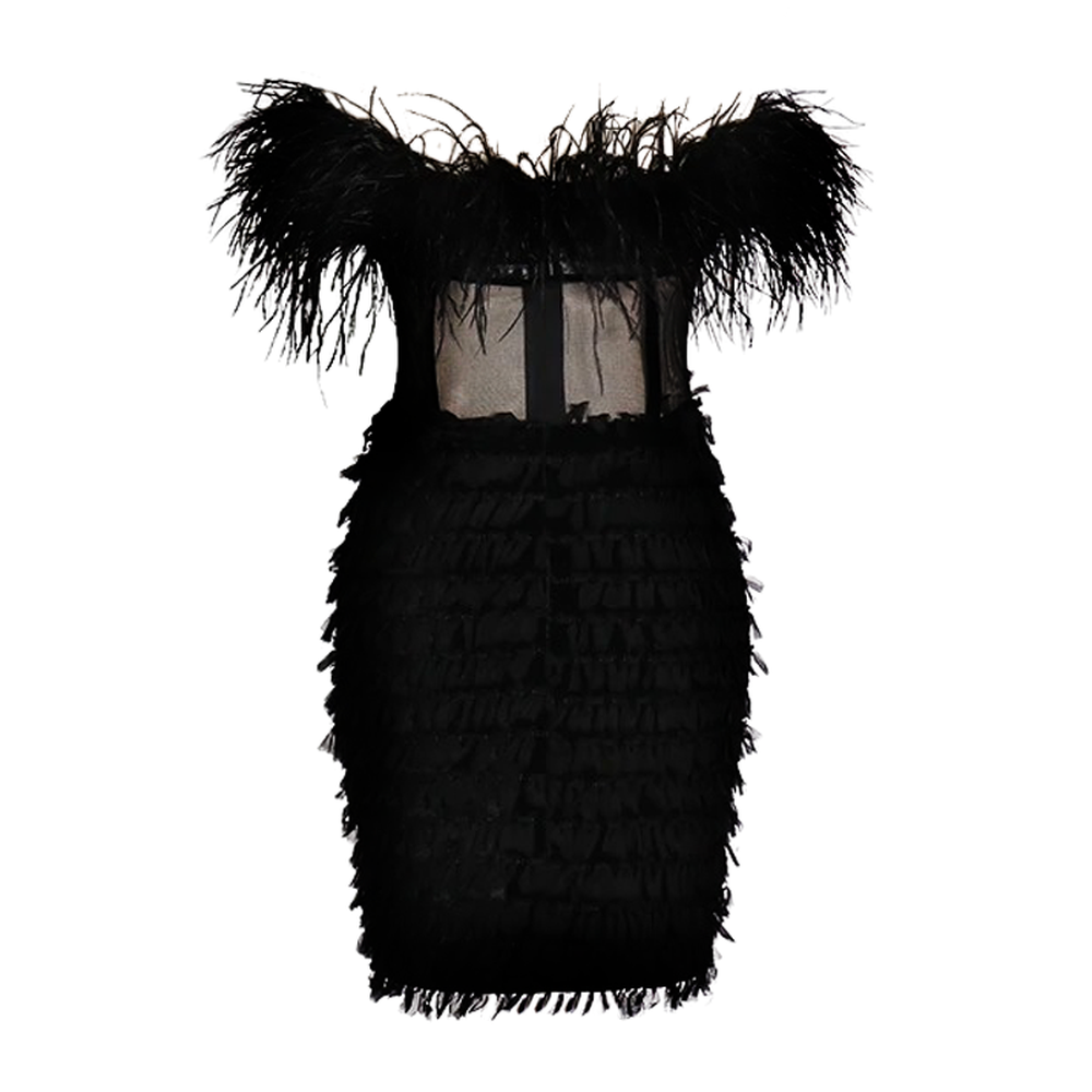 BRIOLETTE Feather Dress - Inamore